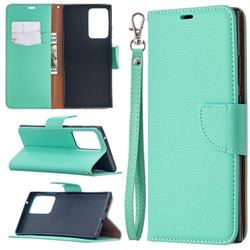Classic Luxury Litchi Leather Phone Wallet Case for Samsung Galaxy Note 20 Ultra - Green