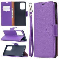 Classic Luxury Litchi Leather Phone Wallet Case for Samsung Galaxy Note 20 Ultra - Purple