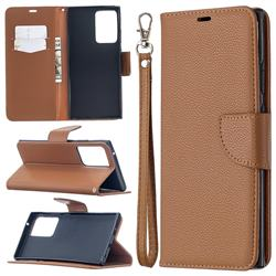 Classic Luxury Litchi Leather Phone Wallet Case for Samsung Galaxy Note 20 Ultra - Brown