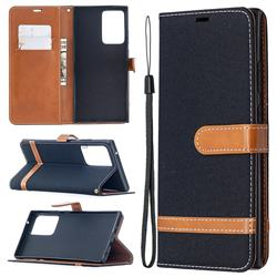 Jeans Cowboy Denim Leather Wallet Case for Samsung Galaxy Note 20 Ultra - Black