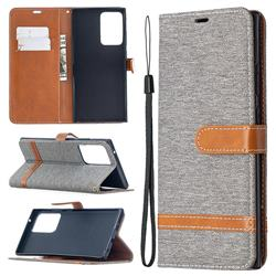 Jeans Cowboy Denim Leather Wallet Case for Samsung Galaxy Note 20 Ultra - Gray