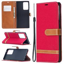 Jeans Cowboy Denim Leather Wallet Case for Samsung Galaxy Note 20 Ultra - Red