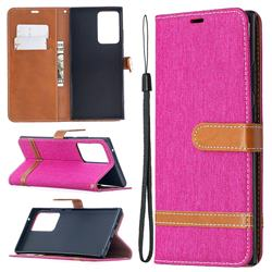 Jeans Cowboy Denim Leather Wallet Case for Samsung Galaxy Note 20 Ultra - Rose