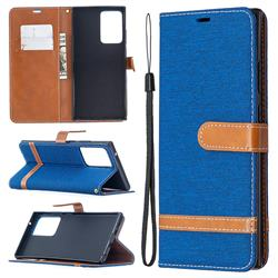 Jeans Cowboy Denim Leather Wallet Case for Samsung Galaxy Note 20 Ultra - Sapphire