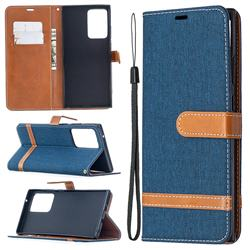 Jeans Cowboy Denim Leather Wallet Case for Samsung Galaxy Note 20 Ultra - Dark Blue