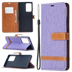 Jeans Cowboy Denim Leather Wallet Case for Samsung Galaxy Note 20 Ultra - Purple