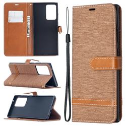 Jeans Cowboy Denim Leather Wallet Case for Samsung Galaxy Note 20 Ultra - Brown
