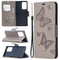 Embossing Double Butterfly Leather Wallet Case for Samsung Galaxy Note 20 Ultra - Gray