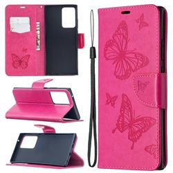 Embossing Double Butterfly Leather Wallet Case for Samsung Galaxy Note 20 Ultra - Red