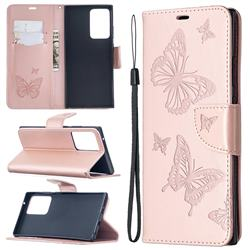 Embossing Double Butterfly Leather Wallet Case for Samsung Galaxy Note 20 Ultra - Rose Gold