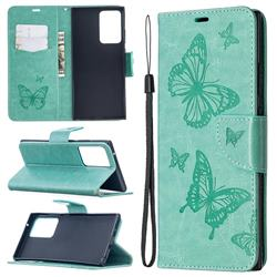 Embossing Double Butterfly Leather Wallet Case for Samsung Galaxy Note 20 Ultra - Green