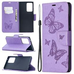 Embossing Double Butterfly Leather Wallet Case for Samsung Galaxy Note 20 Ultra - Purple