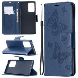 Embossing Double Butterfly Leather Wallet Case for Samsung Galaxy Note 20 Ultra - Dark Blue