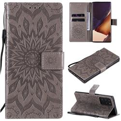 Embossing Sunflower Leather Wallet Case for Samsung Galaxy Note 20 Ultra - Gray