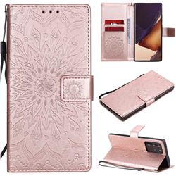 Embossing Sunflower Leather Wallet Case for Samsung Galaxy Note 20 Ultra - Rose Gold