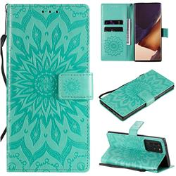 Embossing Sunflower Leather Wallet Case for Samsung Galaxy Note 20 Ultra - Green