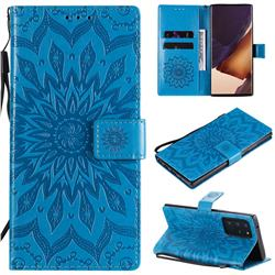Embossing Sunflower Leather Wallet Case for Samsung Galaxy Note 20 Ultra - Blue
