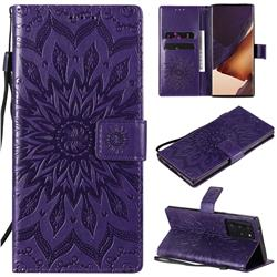 Embossing Sunflower Leather Wallet Case for Samsung Galaxy Note 20 Ultra - Purple
