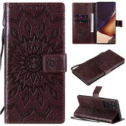 Embossing Sunflower Leather Wallet Case for Samsung Galaxy Note 20 Ultra - Brown