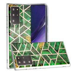 Green Rhombus Galvanized Rose Gold Marble Phone Back Cover for Samsung Galaxy Note 20 Ultra