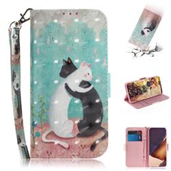 Black and White Cat 3D Painted Leather Wallet Phone Case for Samsung Galaxy Note 20 Ultra