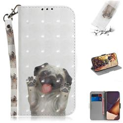 Pug Dog 3D Painted Leather Wallet Phone Case for Samsung Galaxy Note 20 Ultra