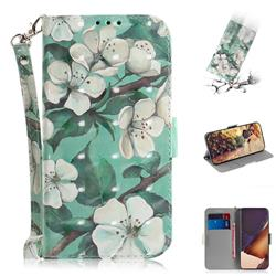 Watercolor Flower 3D Painted Leather Wallet Phone Case for Samsung Galaxy Note 20 Ultra