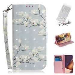 Magnolia Flower 3D Painted Leather Wallet Phone Case for Samsung Galaxy Note 20 Ultra