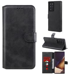 Retro Calf Matte Leather Wallet Phone Case for Samsung Galaxy Note 20 Ultra - Black