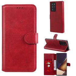 Retro Calf Matte Leather Wallet Phone Case for Samsung Galaxy Note 20 Ultra - Red