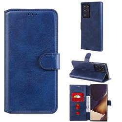 Retro Calf Matte Leather Wallet Phone Case for Samsung Galaxy Note 20 Ultra - Blue