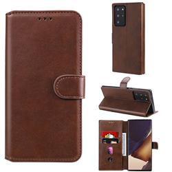 Retro Calf Matte Leather Wallet Phone Case for Samsung Galaxy Note 20 Ultra - Brown