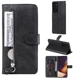 Retro Luxury Zipper Leather Phone Wallet Case for Samsung Galaxy Note 20 Ultra - Black