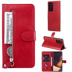 Retro Luxury Zipper Leather Phone Wallet Case for Samsung Galaxy Note 20 Ultra - Red