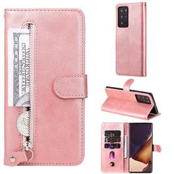 Retro Luxury Zipper Leather Phone Wallet Case for Samsung Galaxy Note 20 Ultra - Pink