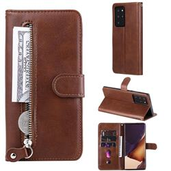 Retro Luxury Zipper Leather Phone Wallet Case for Samsung Galaxy Note 20 Ultra - Brown
