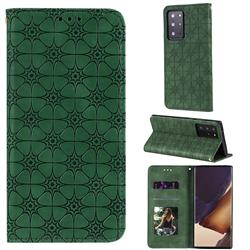 Intricate Embossing Four Leaf Clover Leather Wallet Case for Samsung Galaxy Note 20 Ultra - Blackish Green