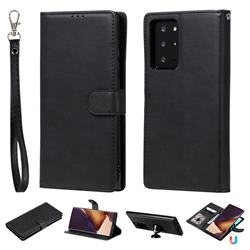 Retro Greek Detachable Magnetic PU Leather Wallet Phone Case for Samsung Galaxy Note 20 Ultra - Black