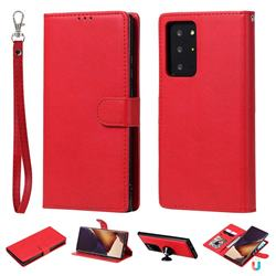 Retro Greek Detachable Magnetic PU Leather Wallet Phone Case for Samsung Galaxy Note 20 Ultra - Red