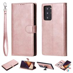 Retro Greek Detachable Magnetic PU Leather Wallet Phone Case for Samsung Galaxy Note 20 Ultra - Rose Gold