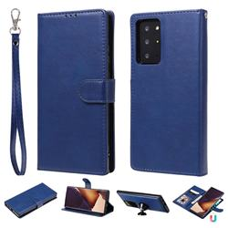 Retro Greek Detachable Magnetic PU Leather Wallet Phone Case for Samsung Galaxy Note 20 Ultra - Blue