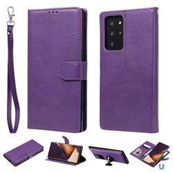 Retro Greek Detachable Magnetic PU Leather Wallet Phone Case for Samsung Galaxy Note 20 Ultra - Purple