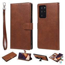 Retro Greek Detachable Magnetic PU Leather Wallet Phone Case for Samsung Galaxy Note 20 Ultra - Brown