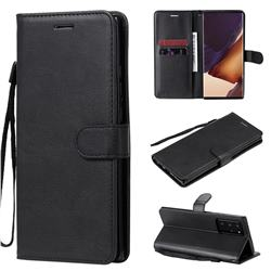 Retro Greek Classic Smooth PU Leather Wallet Phone Case for Samsung Galaxy Note 20 Ultra - Black