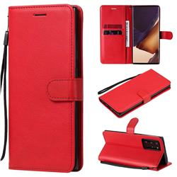 Retro Greek Classic Smooth PU Leather Wallet Phone Case for Samsung Galaxy Note 20 Ultra - Red