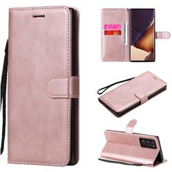 Retro Greek Classic Smooth PU Leather Wallet Phone Case for Samsung Galaxy Note 20 Ultra - Rose Gold