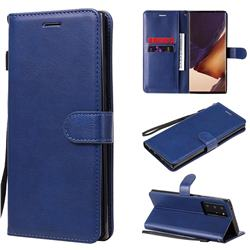 Retro Greek Classic Smooth PU Leather Wallet Phone Case for Samsung Galaxy Note 20 Ultra - Blue
