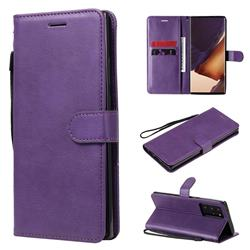 Retro Greek Classic Smooth PU Leather Wallet Phone Case for Samsung Galaxy Note 20 Ultra - Purple