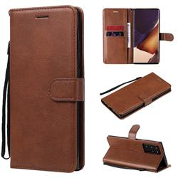 Retro Greek Classic Smooth PU Leather Wallet Phone Case for Samsung Galaxy Note 20 Ultra - Brown