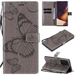 Embossing 3D Butterfly Leather Wallet Case for Samsung Galaxy Note 20 Ultra - Gray